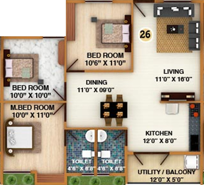 DS Silver Oak (3BHK+2T (1,266 sq ft) 1266 sq ft)