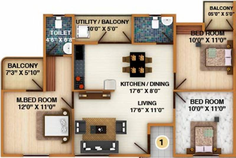 DS Silver Oak (3BHK+2T (1,445 sq ft) 1445 sq ft)