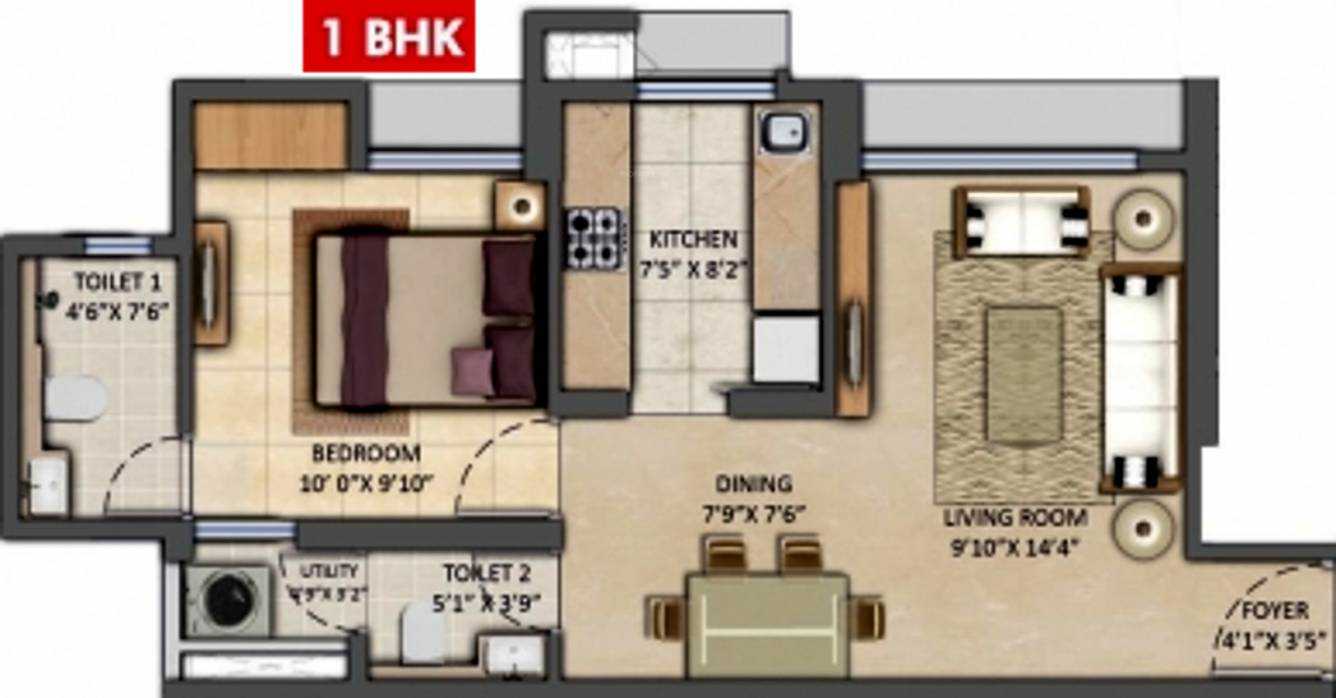 720 Sq Ft 1 Bhk 2t Apartment For Sale In Lodha Group