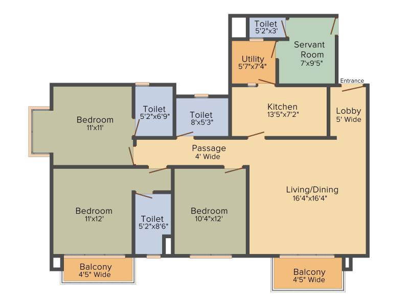 Anik One Rajarhat (3BHK+3T (1,878 sq ft) + Servant Room 1878 sq ft)