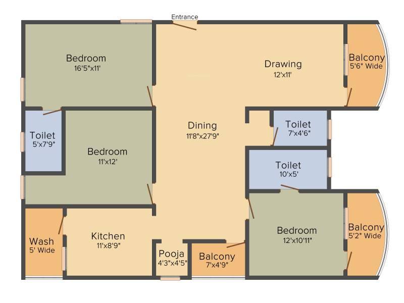 Trishala Saffron Sanathan (3BHK+3T (1,850 sq ft) + Pooja Room 1850 sq ft)