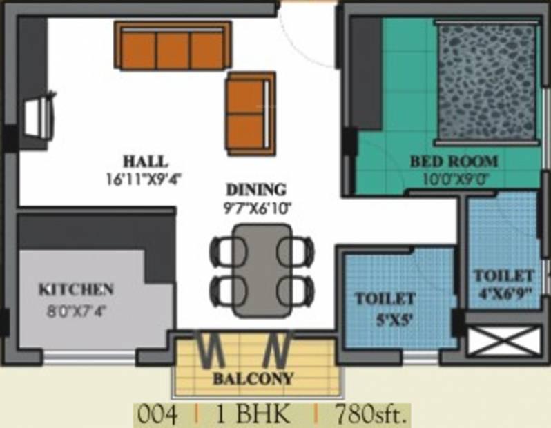 Rotson Sai Pride (1BHK+2T (780 sq ft) 780 sq ft)