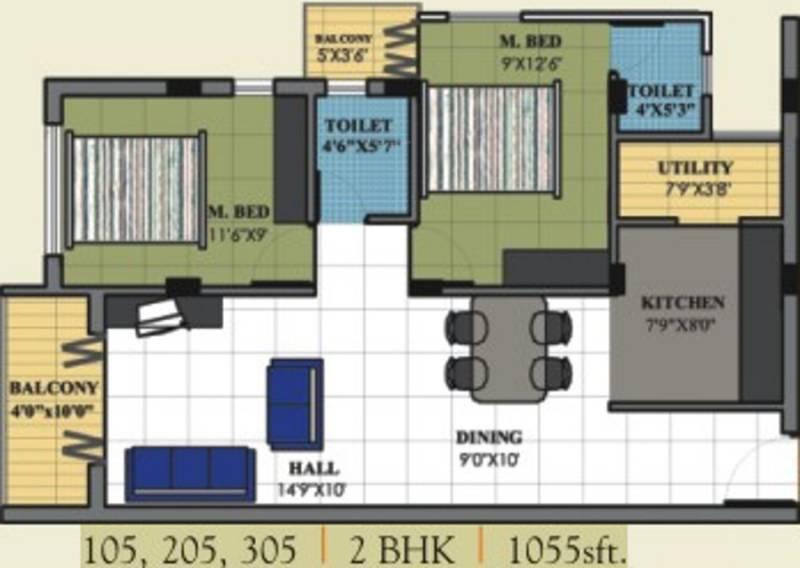 Rotson Sai Pride (2BHK+2T (1,055 sq ft) 1055 sq ft)