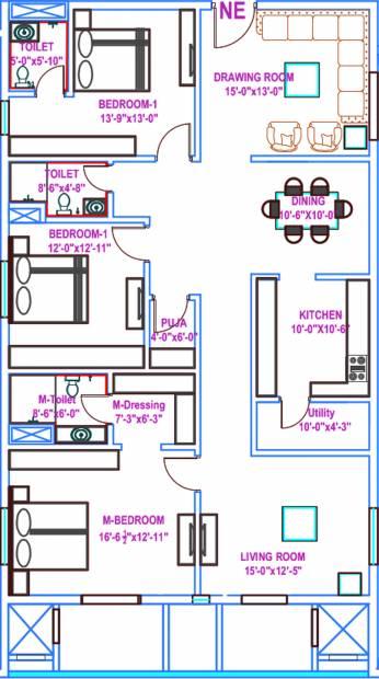 Vasavi Usharam Integra (3BHK+3T (2,563 sq ft) + Pooja Room 2563 sq ft)