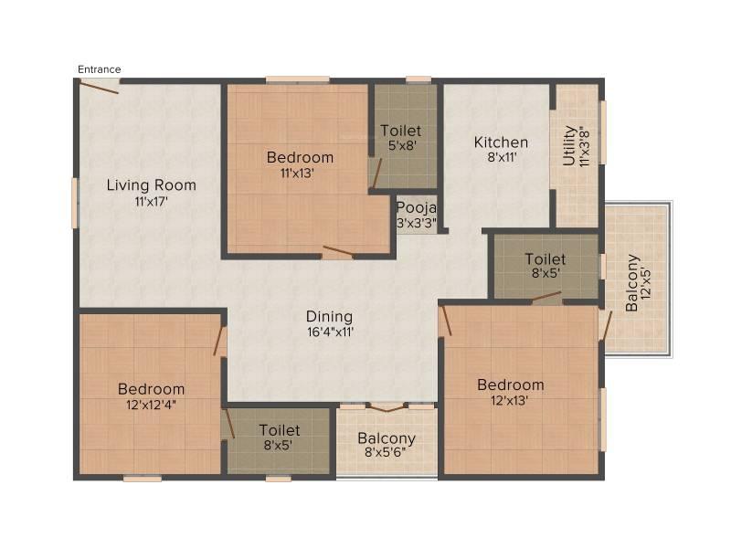 ARK Serene County (3BHK+3T (1,630 sq ft)   Pooja Room 1630 sq ft)