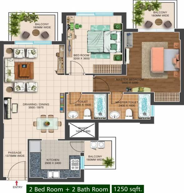 Capital Residency 360 (2BHK+2T (1,250 sq ft) 1250 sq ft)