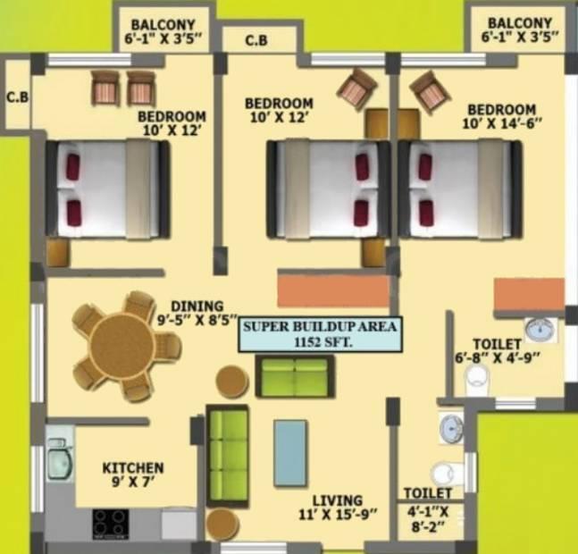 Shashank Constructions Platina Dream City Floor Plan (3BHK+2T (1,152 sq ft) 1152 sq ft)