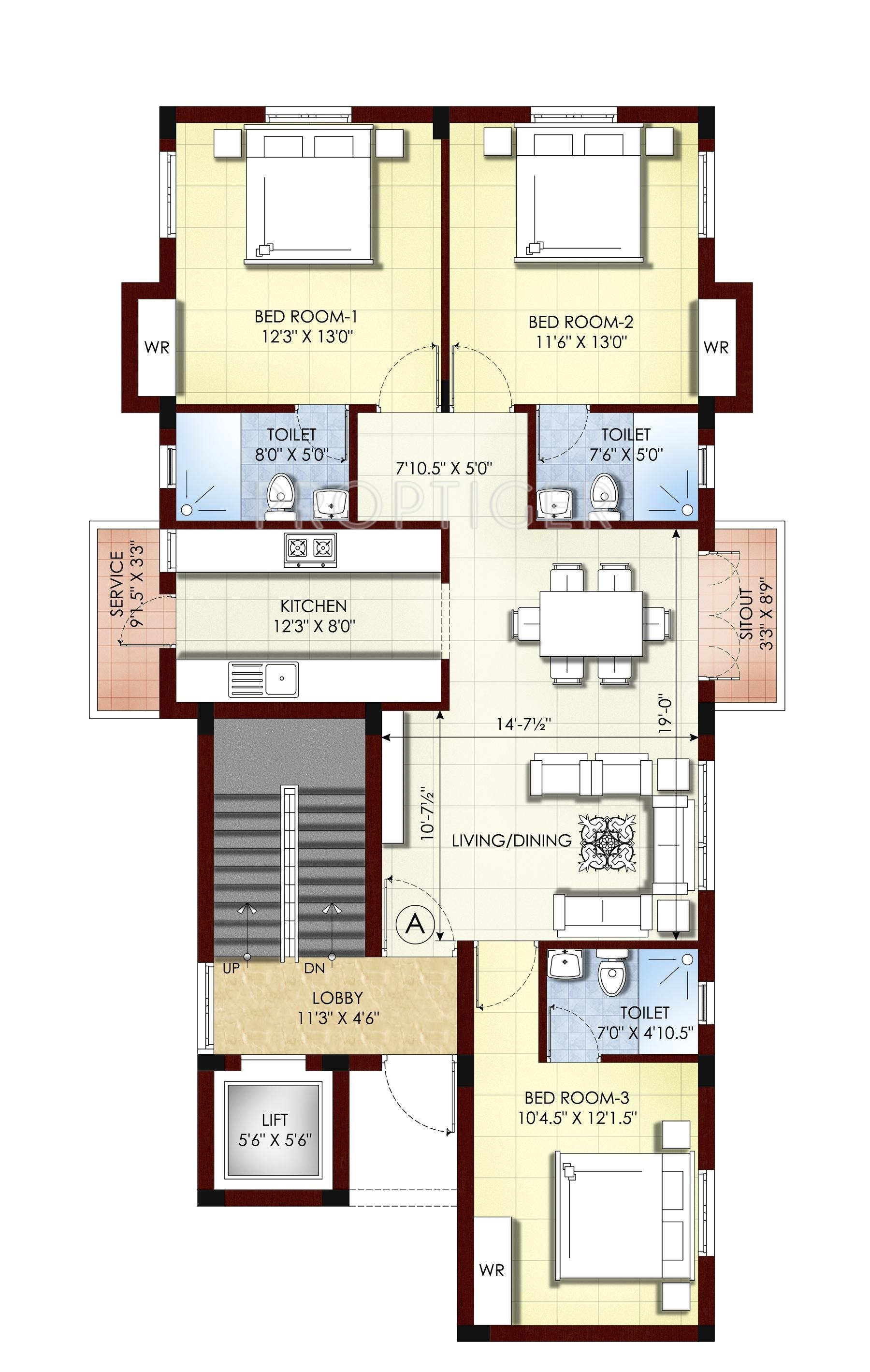 1400 sq ft 3 bhk 3t apartment for sale in kgeyes residency padhma