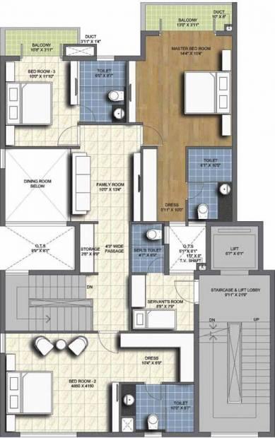 Unitech Resorts (4BHK+4T (3,635 sq ft)   Servant Room 3635 sq ft)