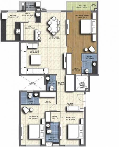 Unitech Resorts (3BHK+3T (2,050 sq ft)   Pooja Room 2050 sq ft)