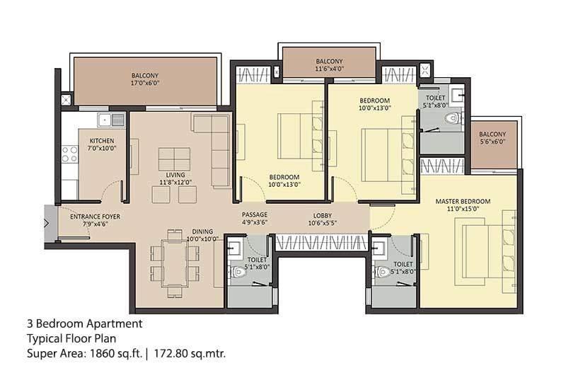 Ambience Creacions (3BHK+3T (1,860 sq ft) 1860 sq ft)