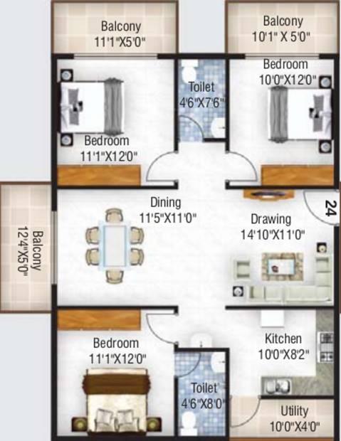 Ruchira Lilium (3BHK+2T (1,505 sq ft) 1505 sq ft)