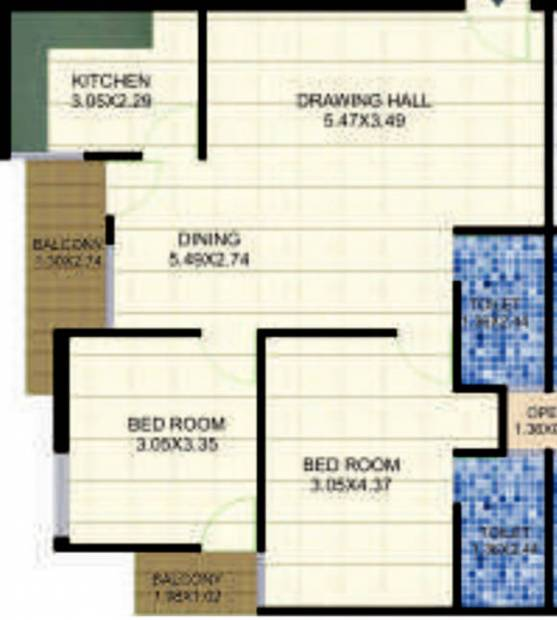 Blue Lotus Orange Woods (2BHK+2T (1,155 sq ft) 1155 sq ft)