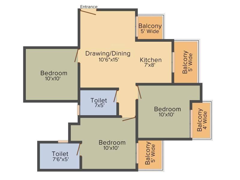 Arihant Abode (3BHK+2T (1,055 sq ft) 1055 sq ft)