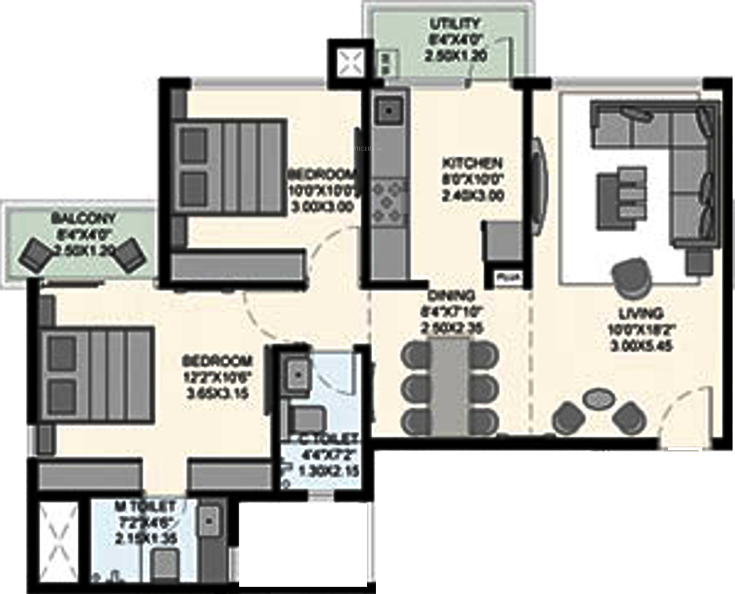 925 Sq Ft 2 Bhk 2t Apartment For Sale In Aditya Developers