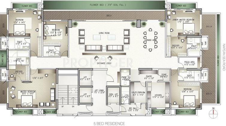 7000 sq ft 5 bhk floor plan image lodha group costiera for 7000 sq ft house plans