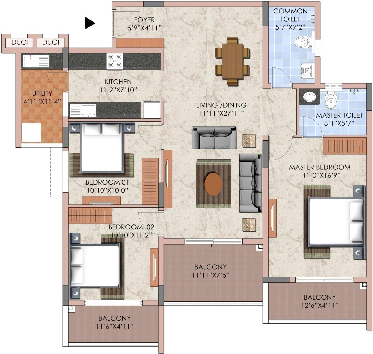 1670 Sq Ft 3 Bhk 2t Apartment For Sale In Renaissance