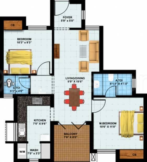 Alpha Kamban Estate Phase I (2BHK+2T (950 sq ft) 950 sq ft)