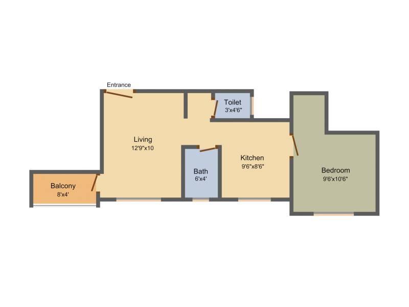 560 sq ft 1 BHK Floor Plan Image - Vastu Sankalp Jayshree Residency ...
