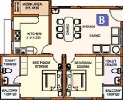 1160 Sq Ft 2 Bhk Floor Plan Image Alpine Homes India Heights Available For Sale Proptiger Com