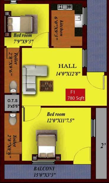 GAG Rama Enclave (2BHK+2T (780 sq ft) 780 sq ft)