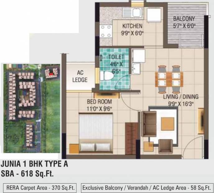 Alliance Galleria Residences (1BHK+1T (618 sq ft) 618 sq ft)