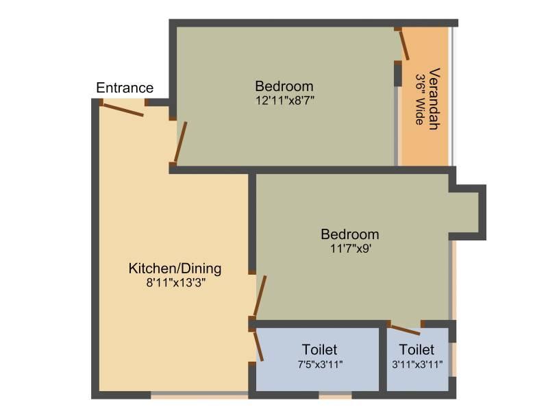 Dream Athena Palace (2BHK+2T (668 sq ft) 668 sq ft)