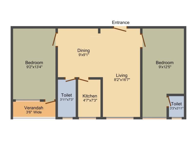 Dream Athena Palace (2BHK+2T (909 sq ft) 909 sq ft)