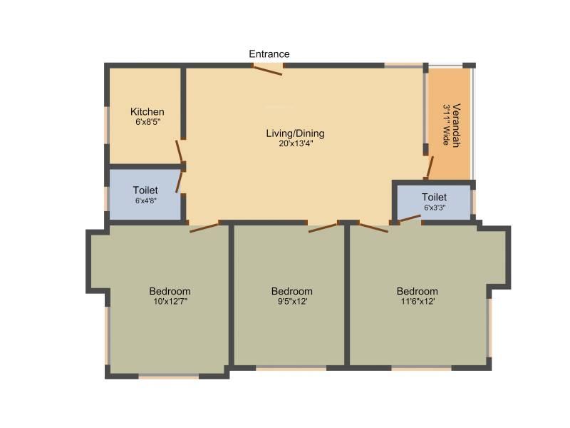 Dream Athena Palace (3BHK+2T (1,200 sq ft) 1200 sq ft)