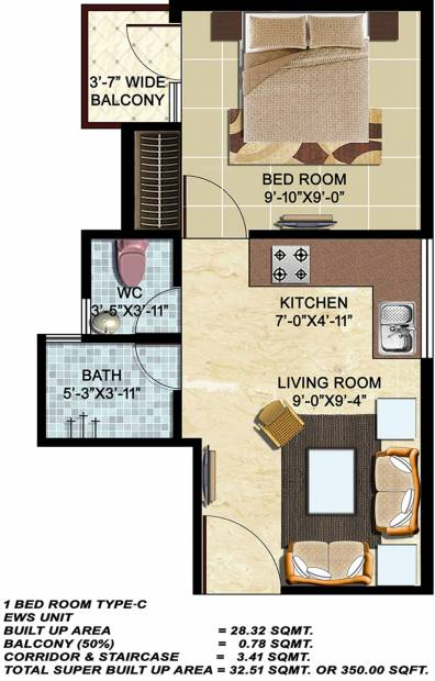 auric infraprojects city homes 1bhk1t 350 sq ft 350 sq ft this floor plan - 350 Sq Ft Floor Plan