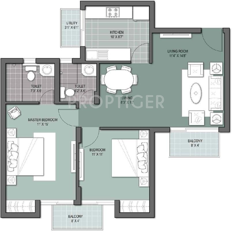 1050 sq ft 2 bhk 2t apartment for sale in unitech gardens for 1050 sq ft floor plans
