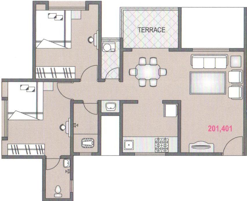 Sgl vishwajeet residency by sgl construction in kharadi for X2 residency floor plan