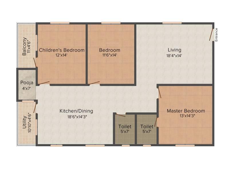 Amma Galaxy City Vasantha (3BHK+2T (1,850 sq ft) + Pooja Room 1850 sq ft)