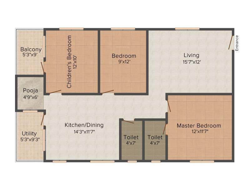 Amma Galaxy City Vasantha (3BHK+2T (1,350 sq ft) + Pooja Room 1350 sq ft)