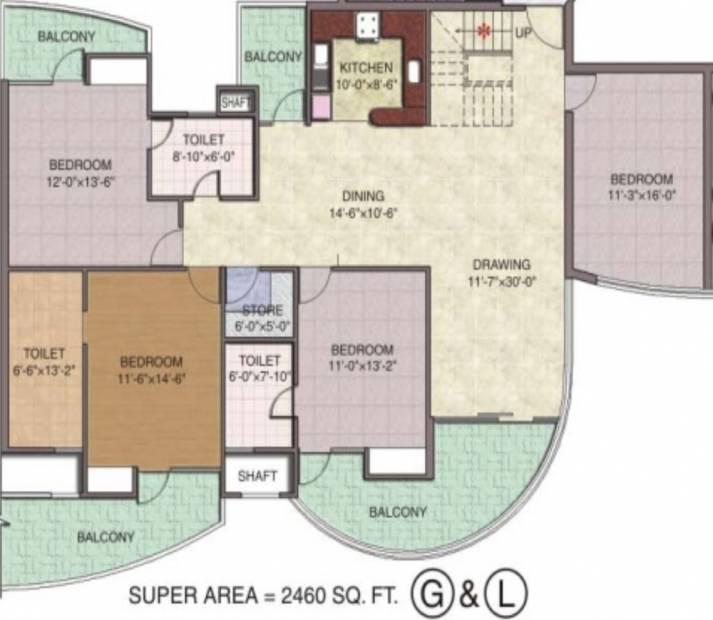 Sethi Group Park Sapphire (4BHK+3T (2,460 sq ft) 2460 sq ft)