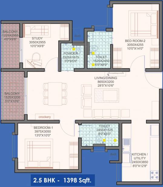 Habitat Eden Height (2BHK+2T (1,398 sq ft)   Study Room 1398 sq ft)