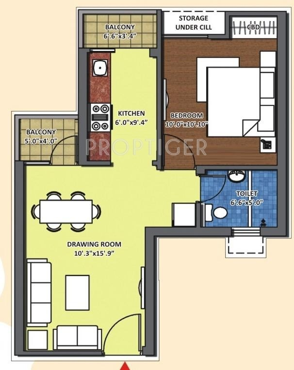 640 Sq Ft 1 Bhk 1t Apartment For Sale In K World Srishti