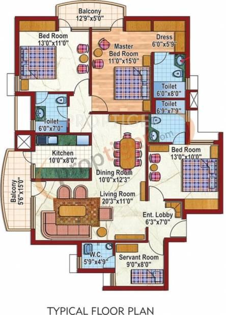 Purvanchal Silver City 2 (3BHK+3T (1,765 sq ft)   Servant Room 1765 sq ft)