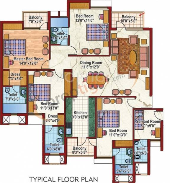 Purvanchal Silver City 2 (4BHK+5T (2,150 sq ft)   Servant Room 2150 sq ft)