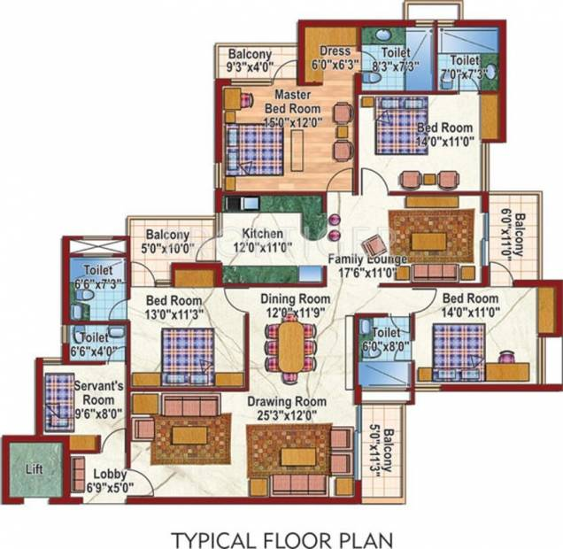 Purvanchal Silver City 2 (4BHK+4T (2,525 sq ft) 2525 sq ft)