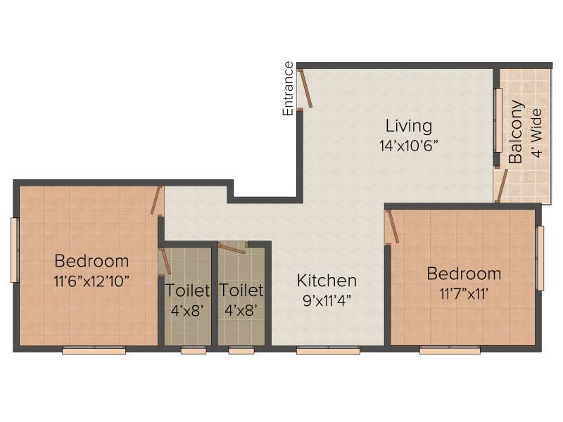 Deepak Panchdeep Renuka Mata Housing Society (2BHK+2T (860 sq ft) 860 sq ft)