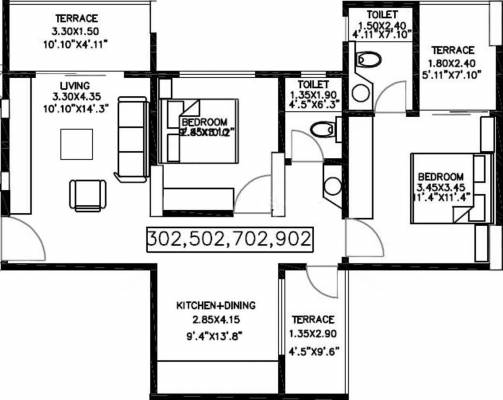 1678 sq ft 3 bhk 3t apartment for sale in bu bhandari for Apartment plans bu