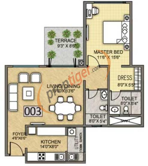 720 Sq Ft Apartment Floor Plan Of 720 Sq Ft 1 Bhk 2t Apartment For Sale In K Raheja Corp