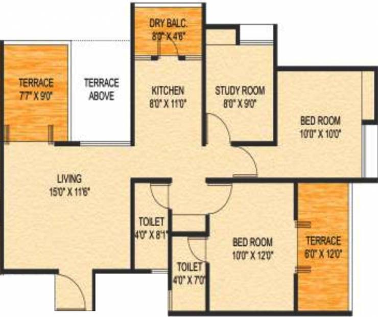 Choice Goodwill Metropolis East (2BHK+2T (1,215 sq ft) + Study Room 1215 sq ft)