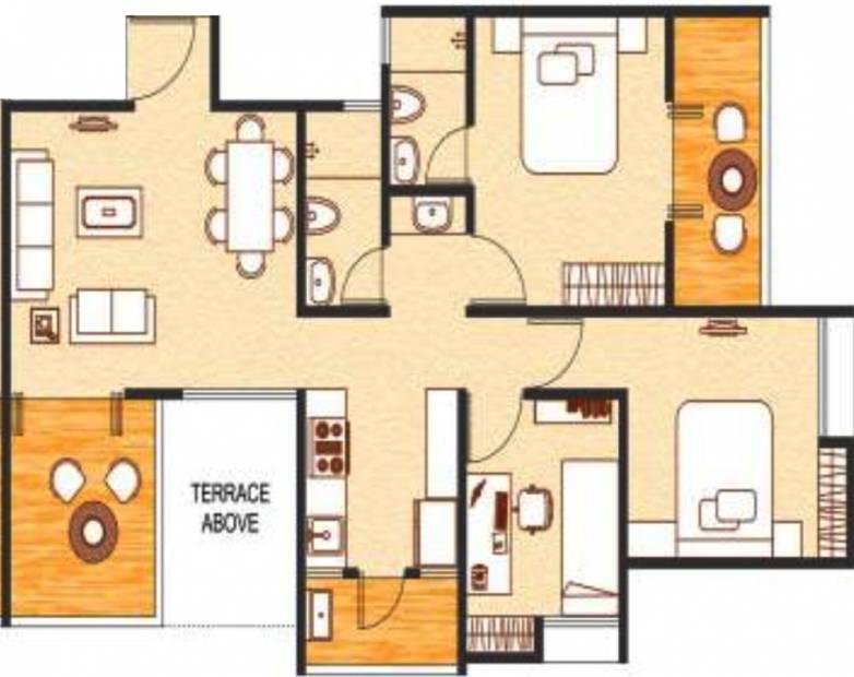 Choice Goodwill Metropolis East (2BHK+2T (1,175 sq ft) + Study Room 1175 sq ft)