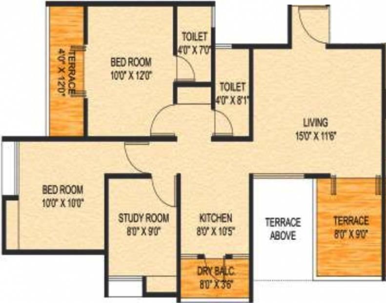 Choice Goodwill Metropolis East (2BHK+2T (1,165 sq ft) + Study Room 1165 sq ft)