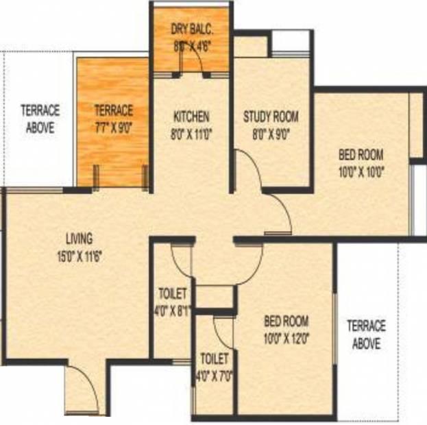Choice Goodwill Metropolis East (2BHK+2T (1,115 sq ft) + Study Room 1115 sq ft)