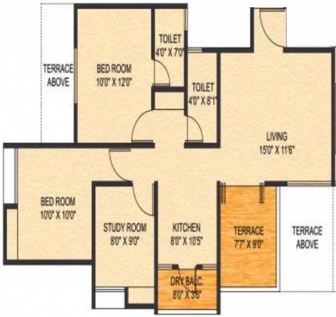 Choice Goodwill Metropolis East (2BHK+2T (1,100 sq ft) + Study Room 1100 sq ft)