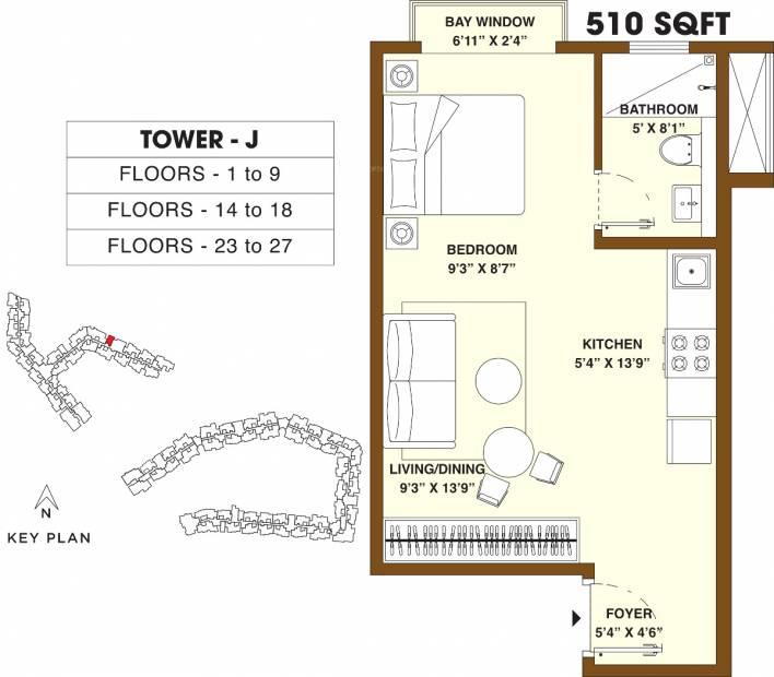 Bhartiya Nikoo Homes 2 (1BHK+1T (510 sq ft) 510 sq ft)