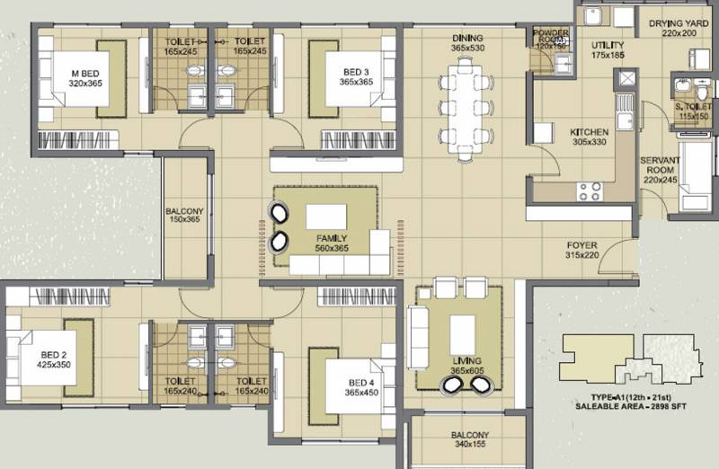Skyline Skyline Exotica (4BHK+5T (2,898 sq ft) + Servant Room 2898 sq ft)